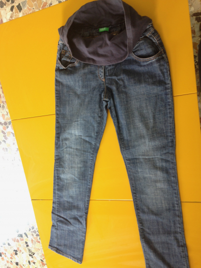 JEANS PREMAMAN -DENIM SCURO-BENETTON 40
